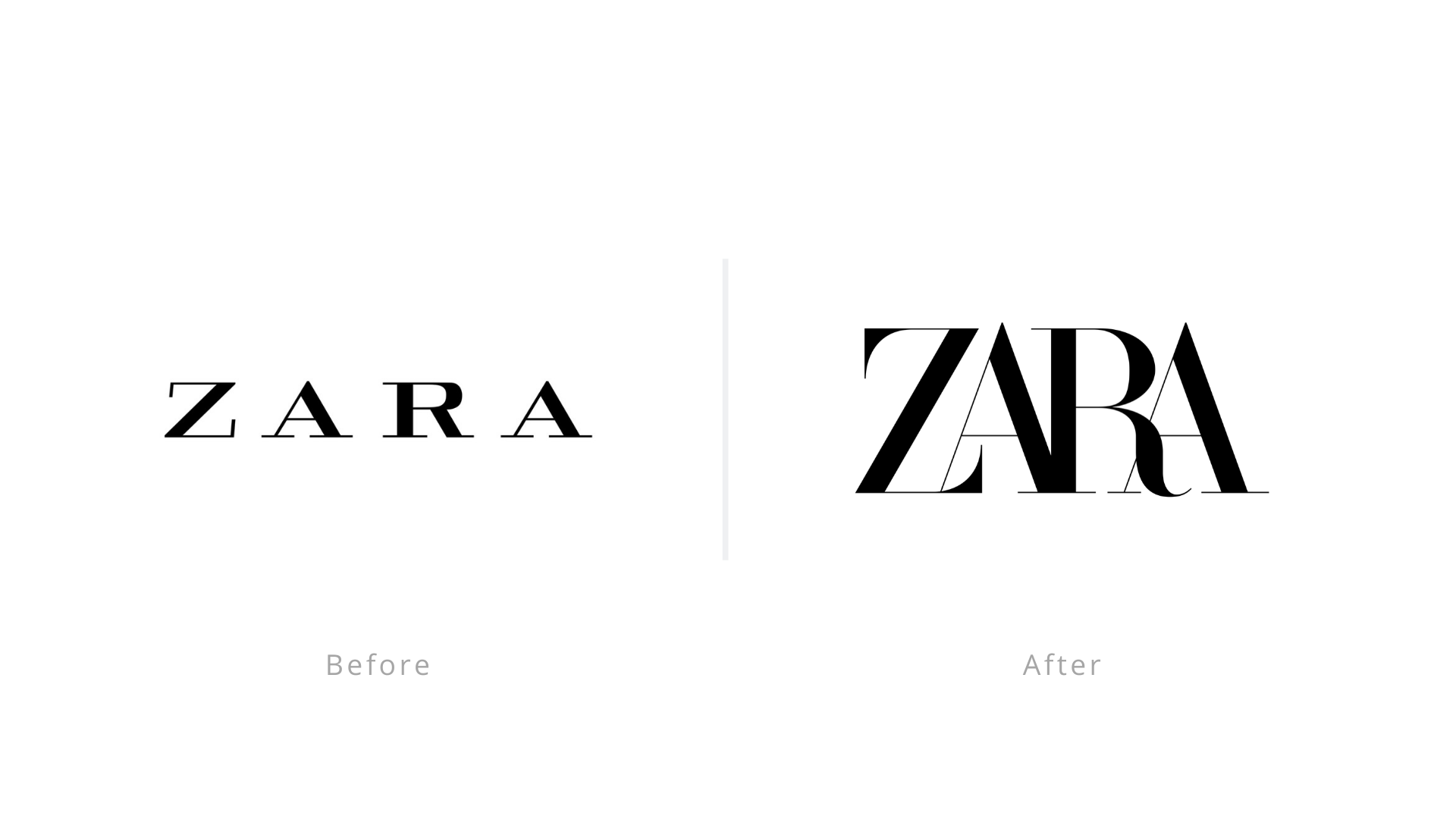 Zara logo before and after
