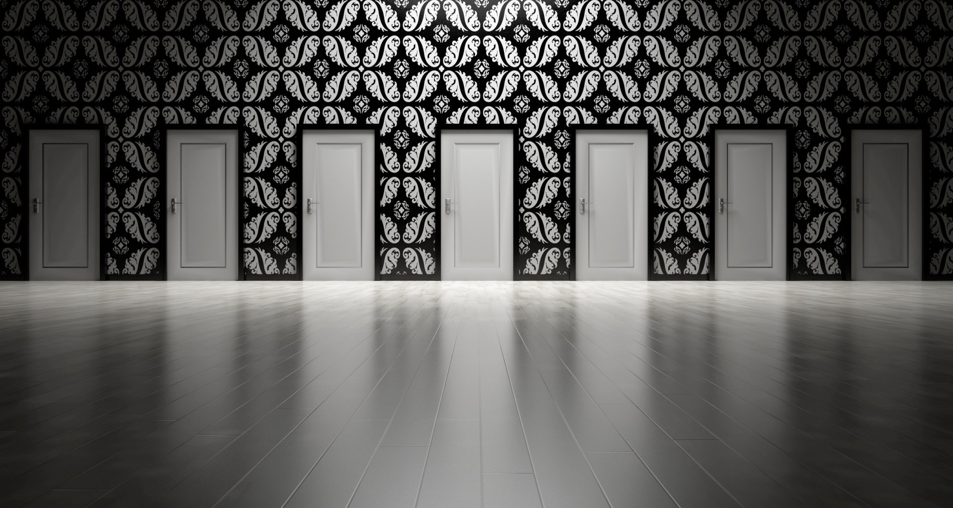 A row of identical doors at the end of a room, illustrating the difficult decision-making involved in using ARIA.