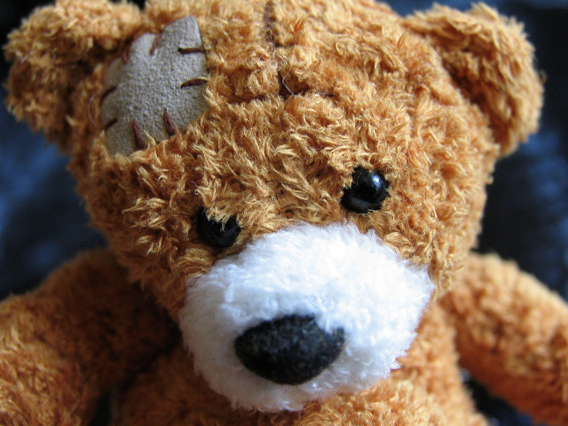 Injured teddy bear with patch over its eye