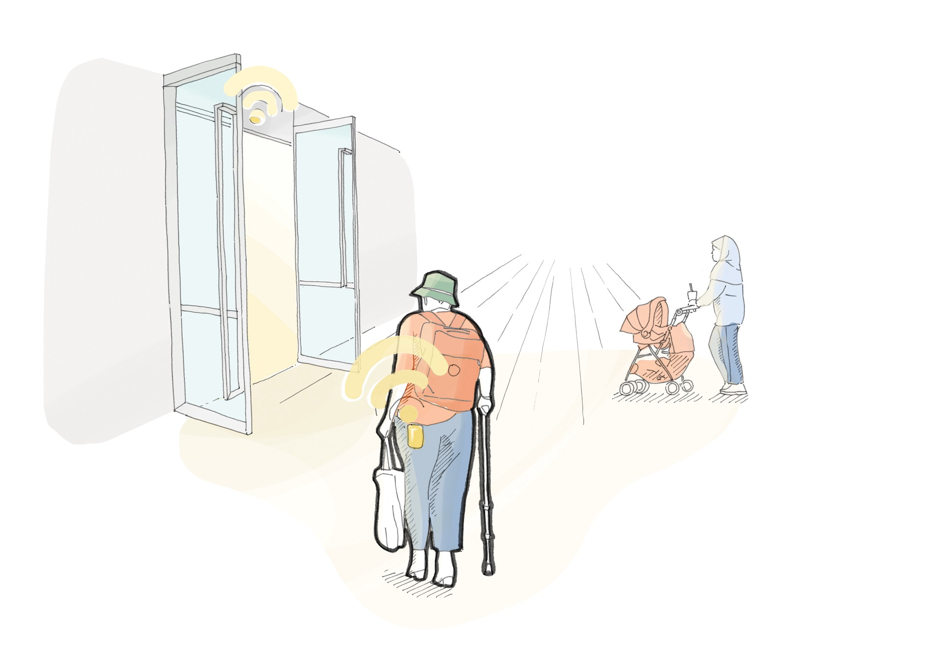 An illustration shows a person entering a building without push buttons or fob keys.