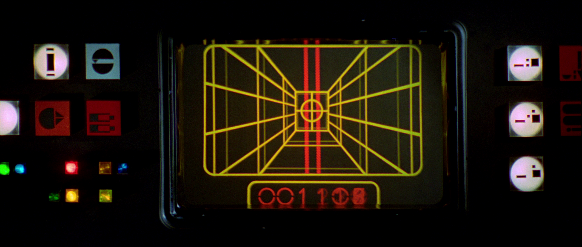 The heads up display of an X-Wing Fighter from the Star Wars movies, courtesy of starwars.wikia.com