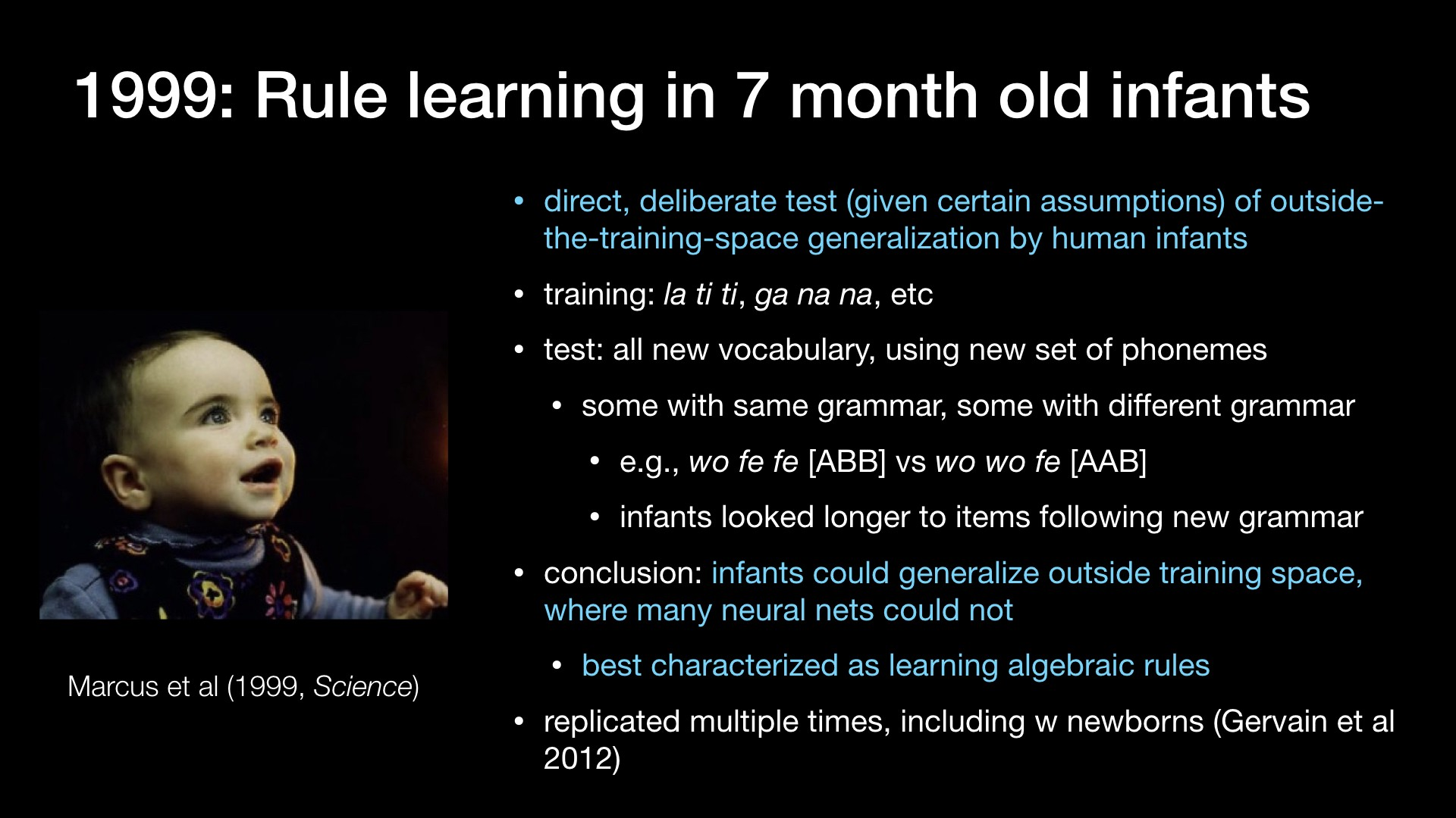 1999: Rule learning in 7 month old infants
