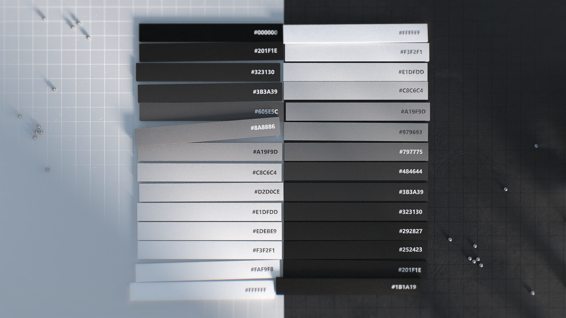A color palette that ranges from blacks to greys to whites.