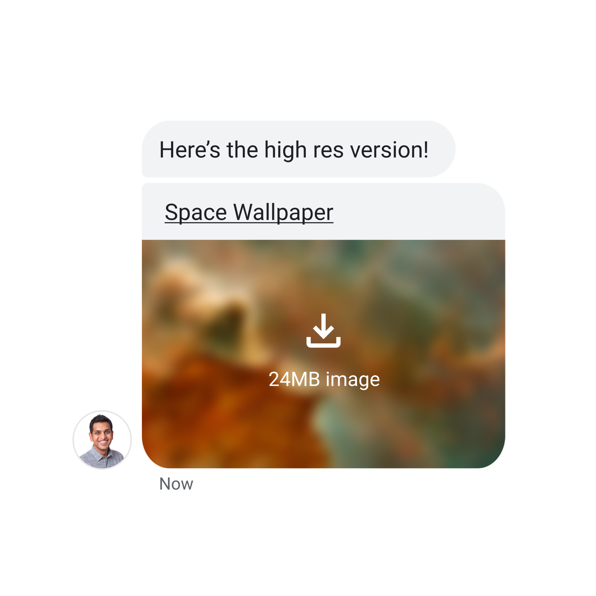 message app with blurry photo