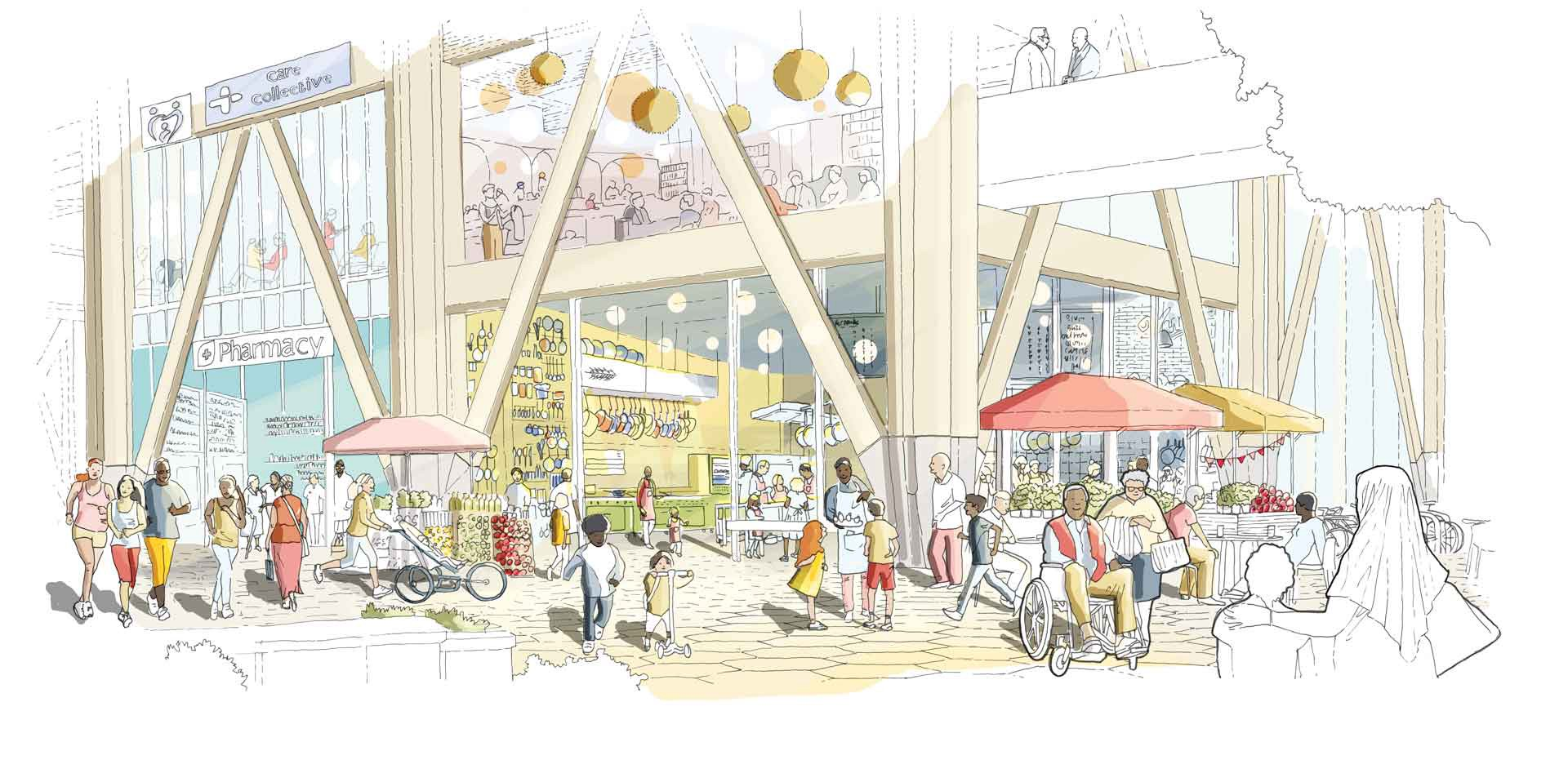 A ground-floor area filled with shops, services, and public spaces that is accessible to people of all ages and abilities.