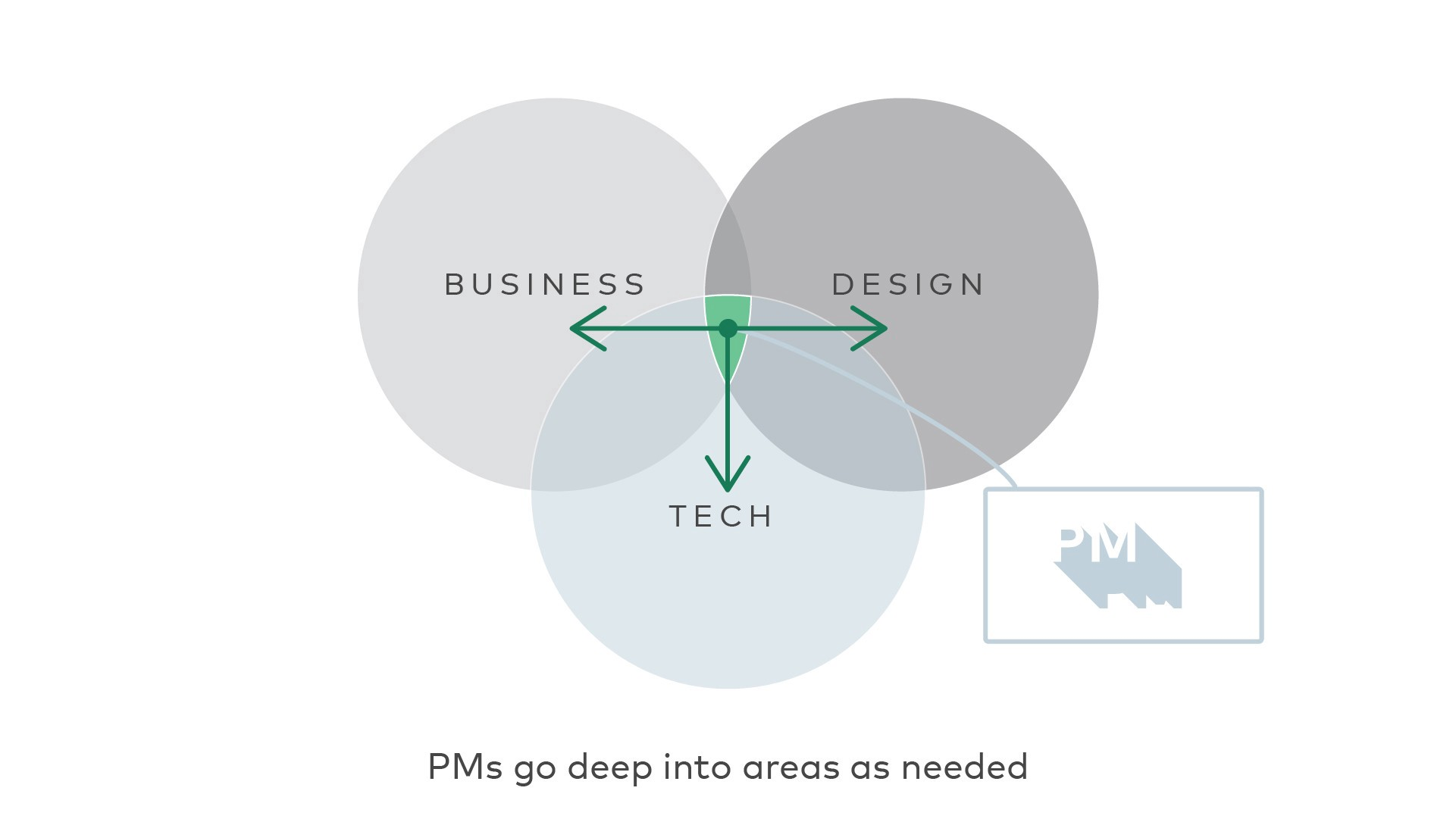 PMs do deep into other areas of Business, Design, and Tech as needed