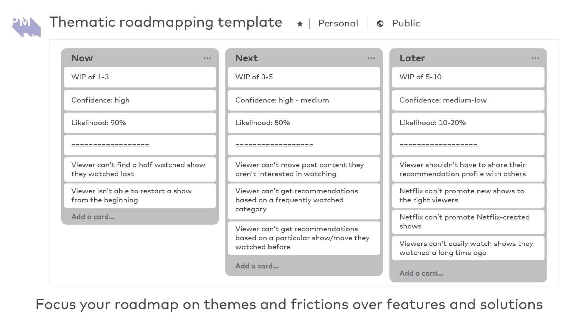 Focus your roadmap on themes and frictions over features and solutions