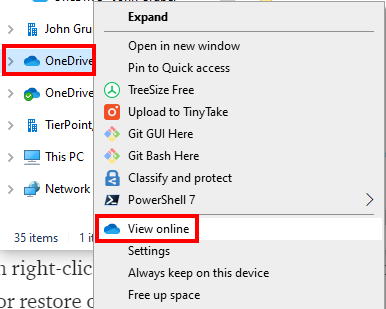 OneDrive View online circled