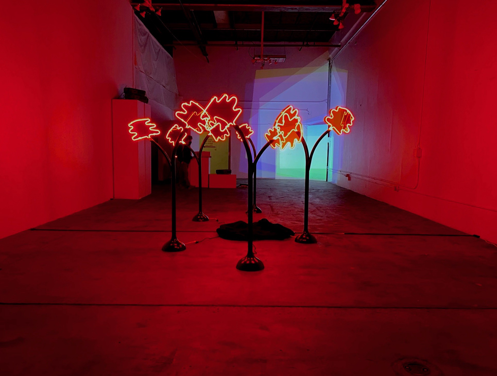 Red neon lights in the form of trees, part of the exhibition EDGE OF LIGHT. Inspired by recent forest fires & climate change.