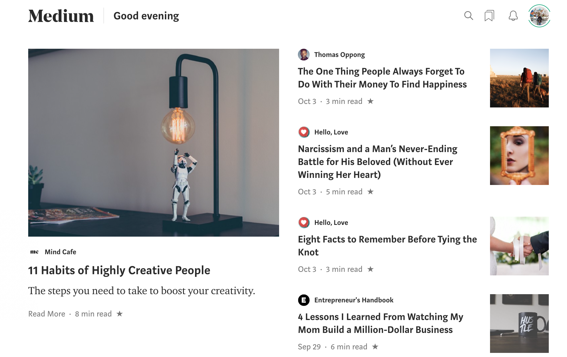 Screenshot of Medium homepage. Four publications and one lonely author.