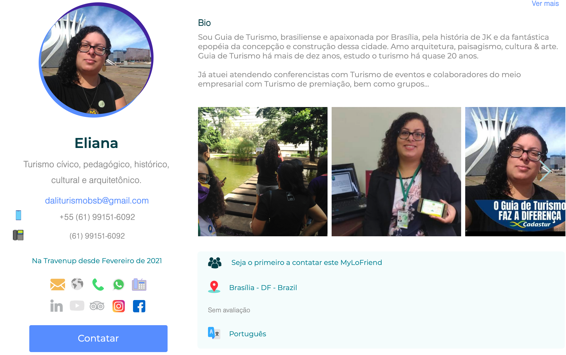 Eliana Contact Page in Brasilia DF at TravenUp