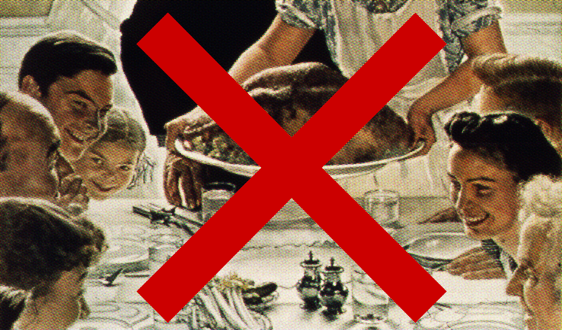 Cropped version of a Norman Rockwell painting of a family Thanksgiving dinner. A red X is drawn over the image.