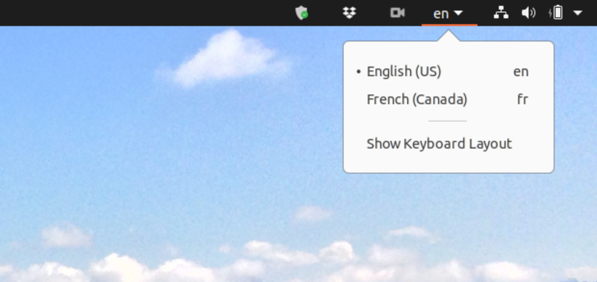Option to change language settings in Ubuntu.