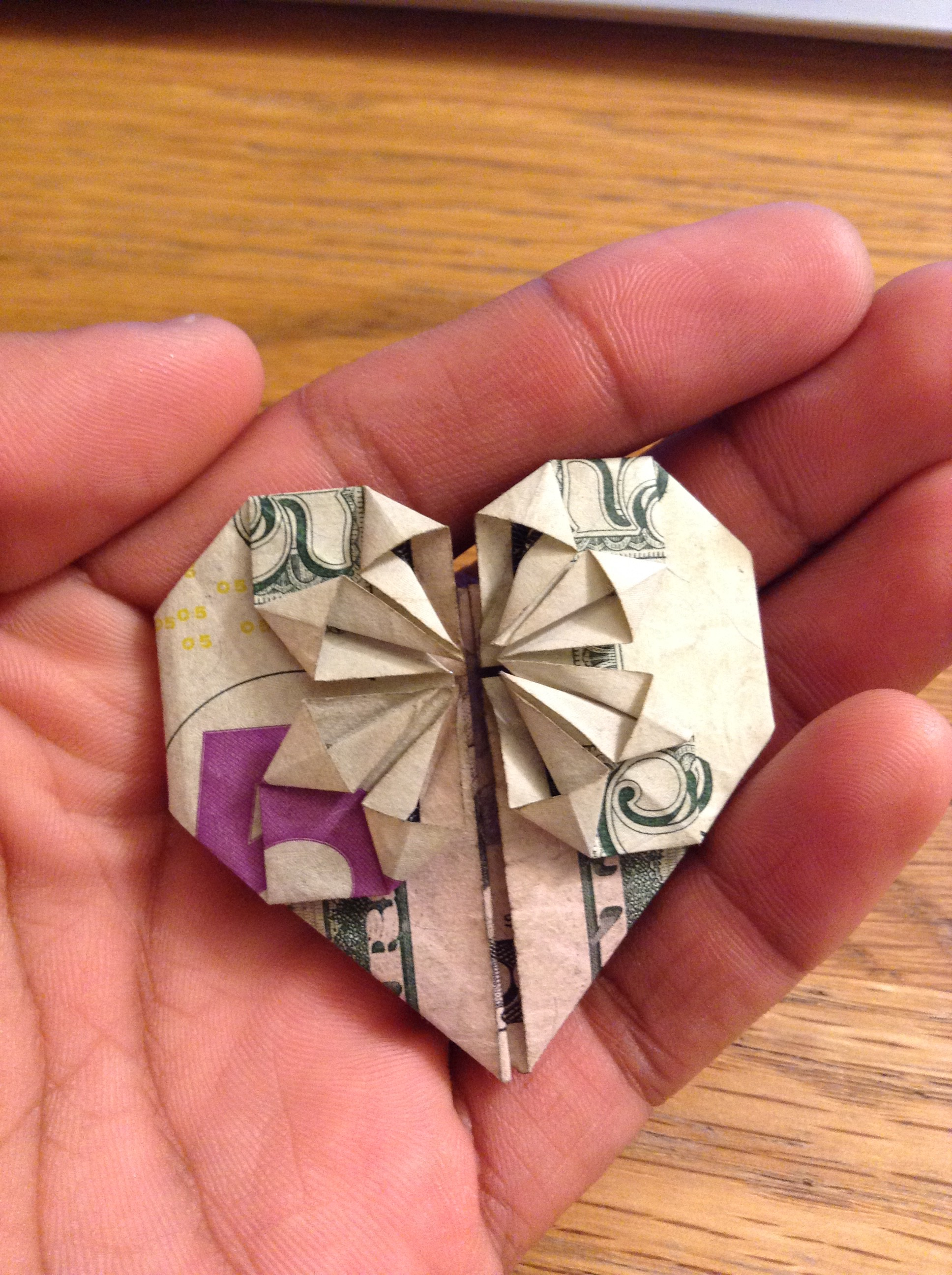 How to fold origami money heart with coin star. Easy and simple ... | 2592x1936
