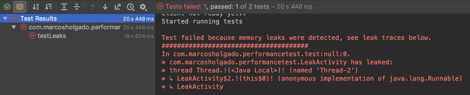 Detect memory leaks in your instrumentation tests using