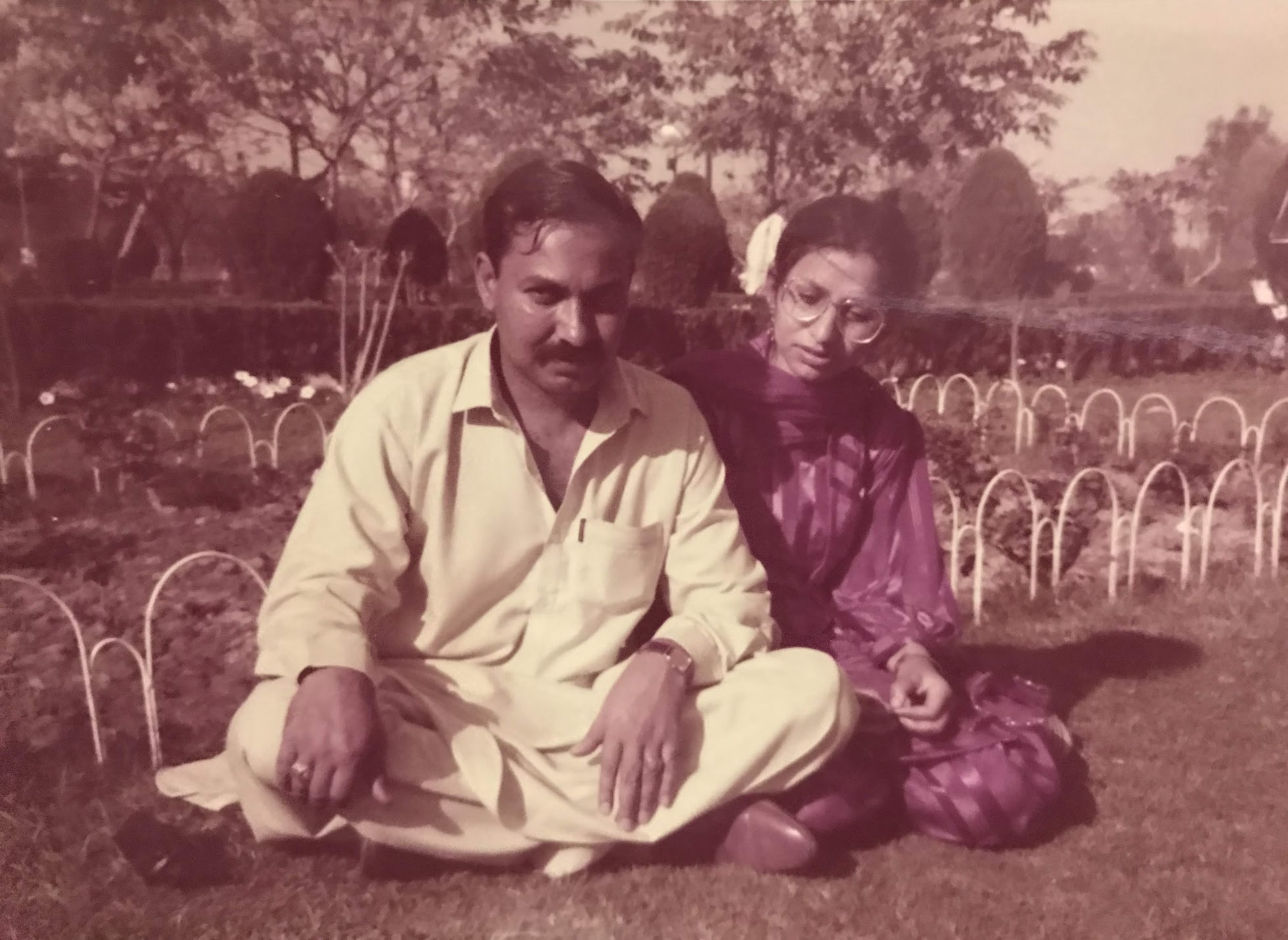 Ami and Abu on their first date after marriage (Jallo Park, Lahore) (1987)