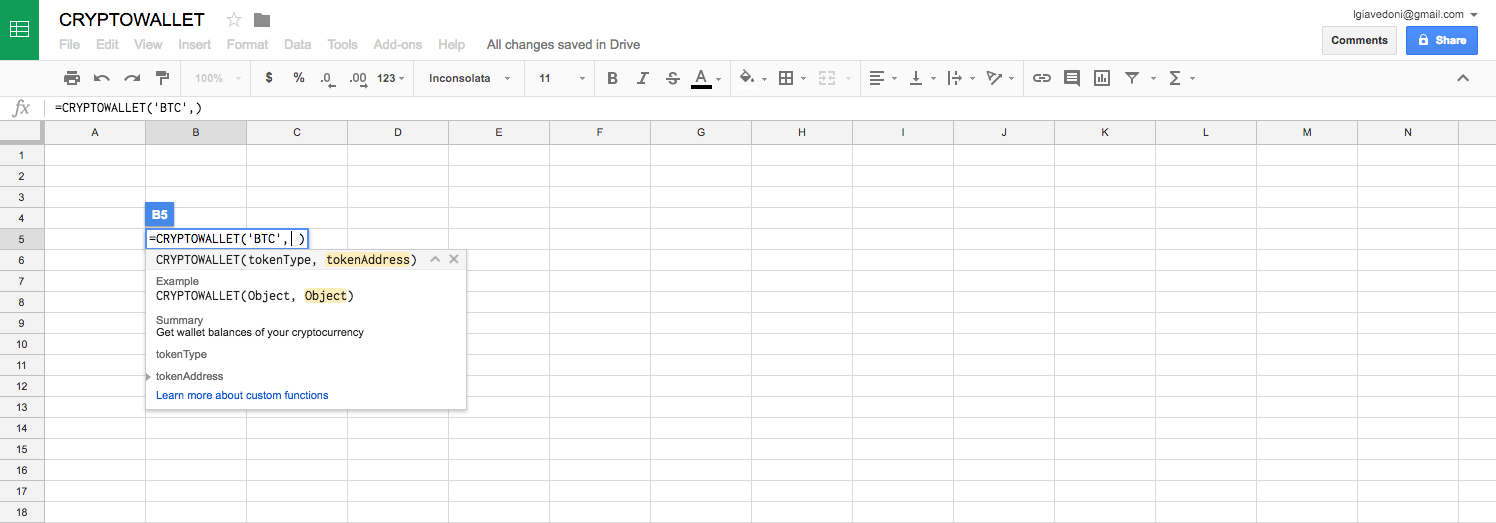 How to get crypto balance from your wallet in Google Sheets