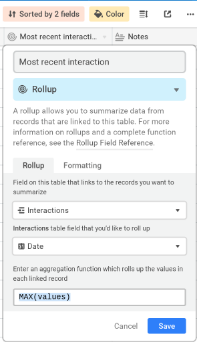 Example of a Rollup field in Airtable, showing most recent interactions