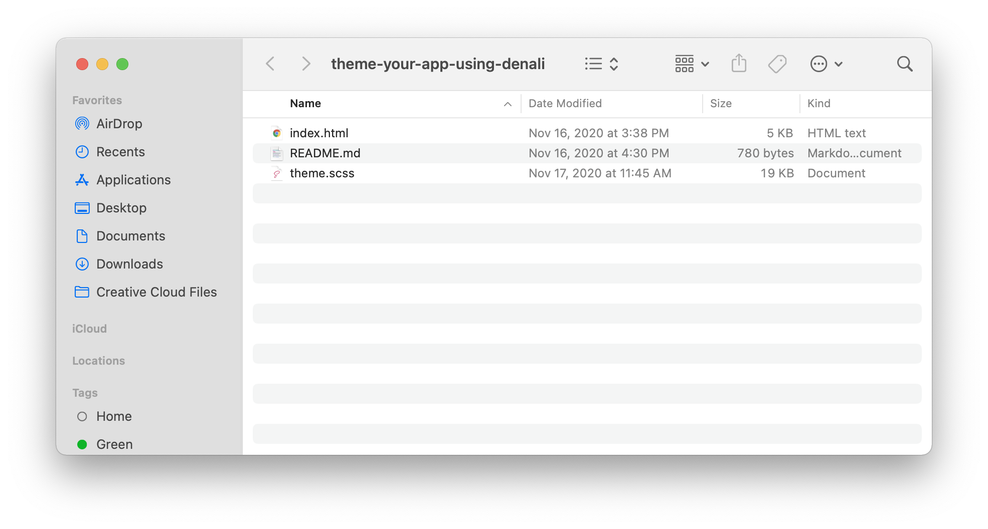 Image of file structure from download.
