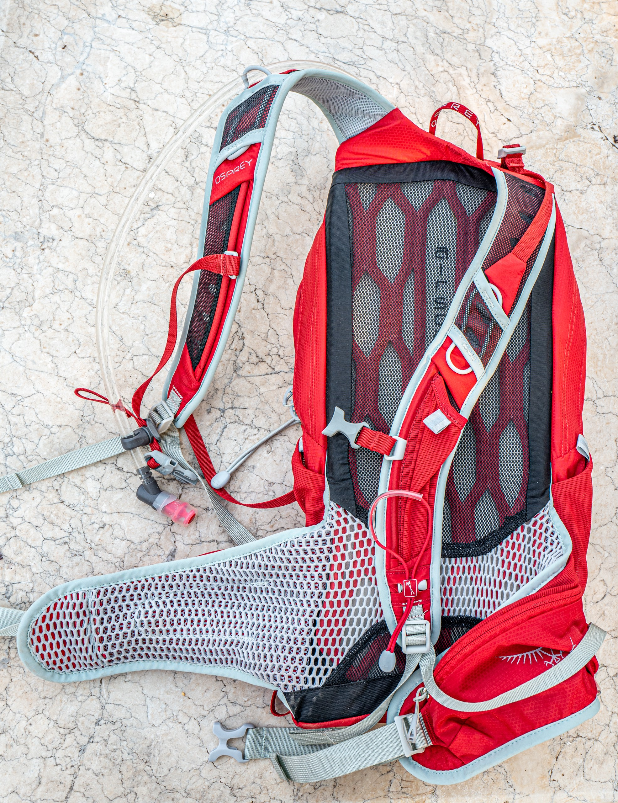Front of pack, showing plastic mesh frame, shoulder straps and waist belt.