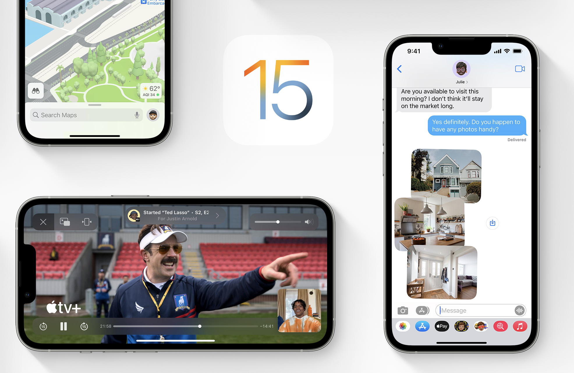iPhone screens with assorted images around the number 15, as in iOS 15.