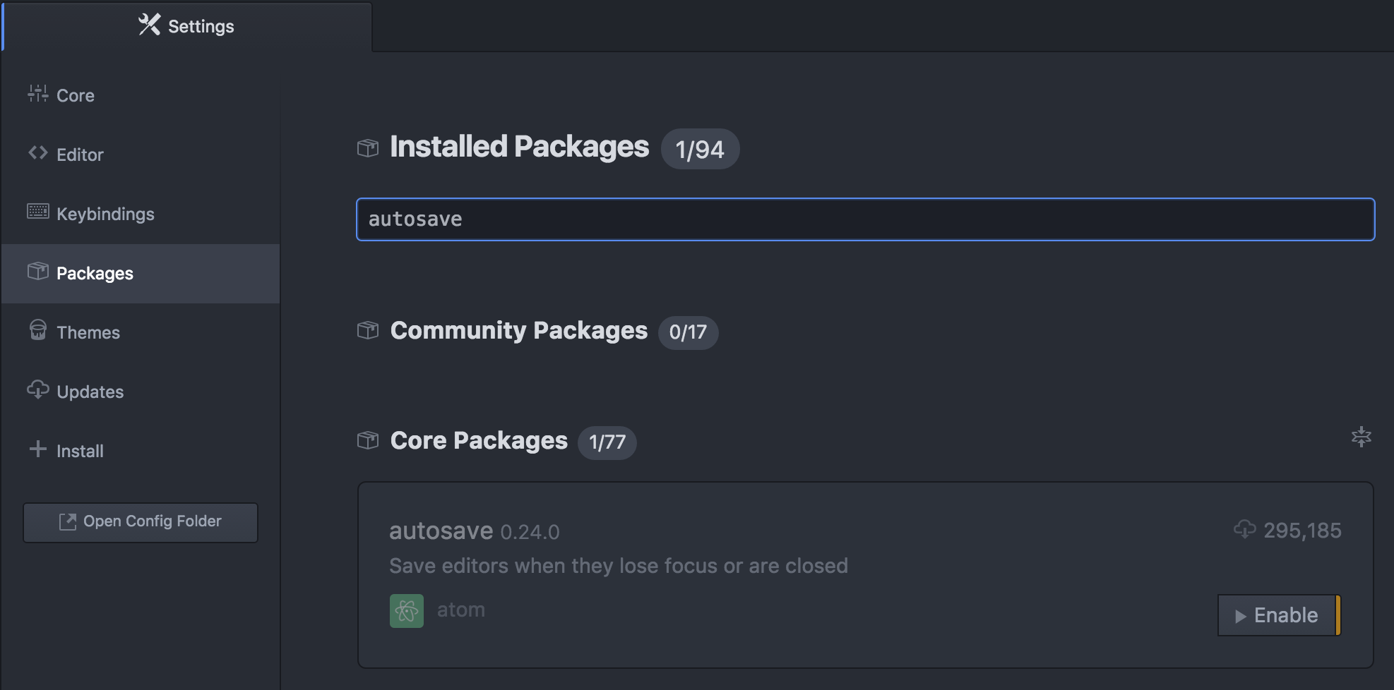 Atom editor showing the available packages after using the Filter with the search term, 'autosave.' The package 'autosave' is available, but in a disabled state. Information about the 'autosave' package and a button labelled 'Enable' is presented.