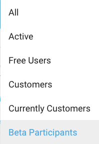 Freemius Developer Dashboard USERS Filter for Beta Participants