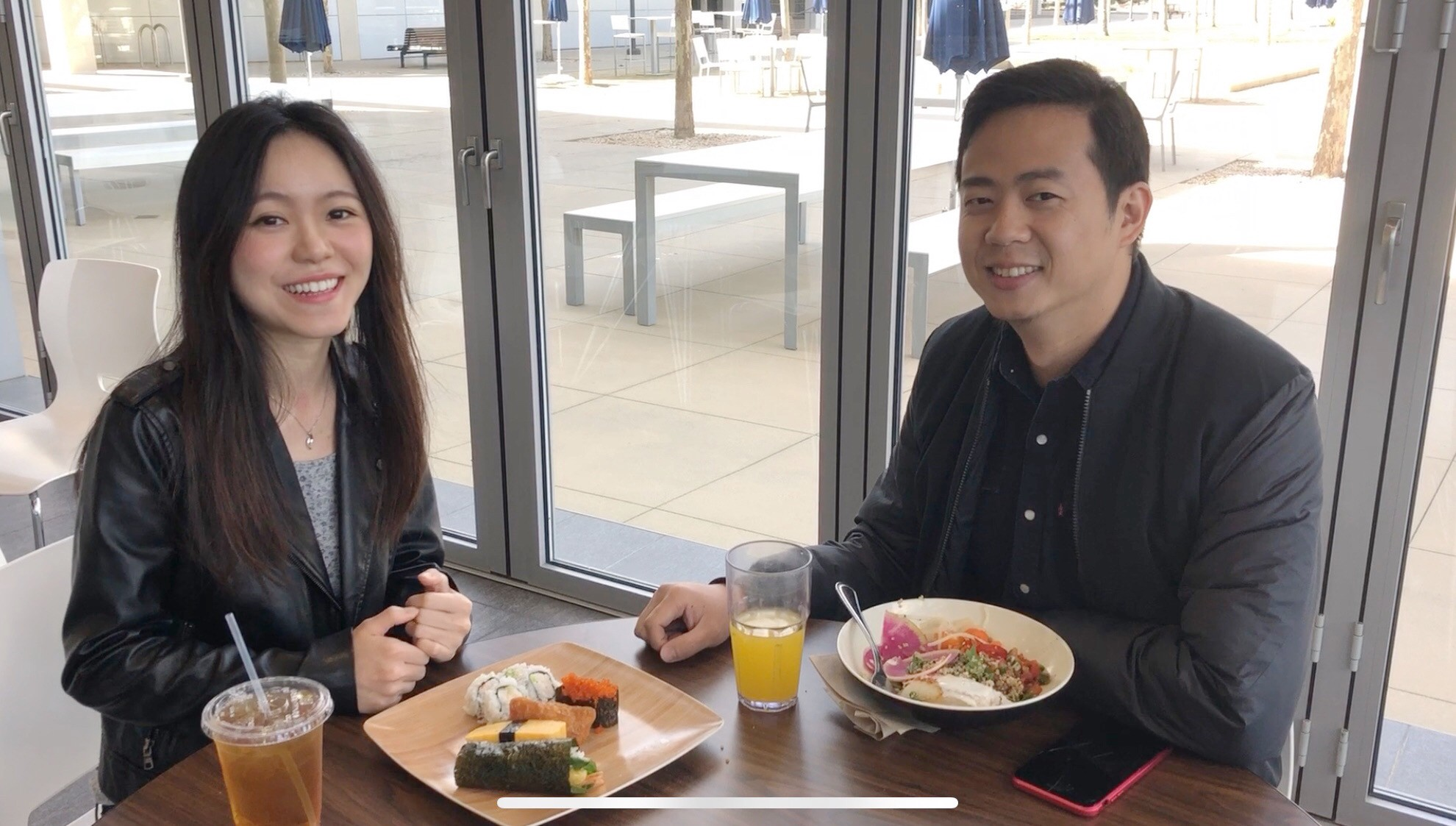 April enjoying lunch with a designer