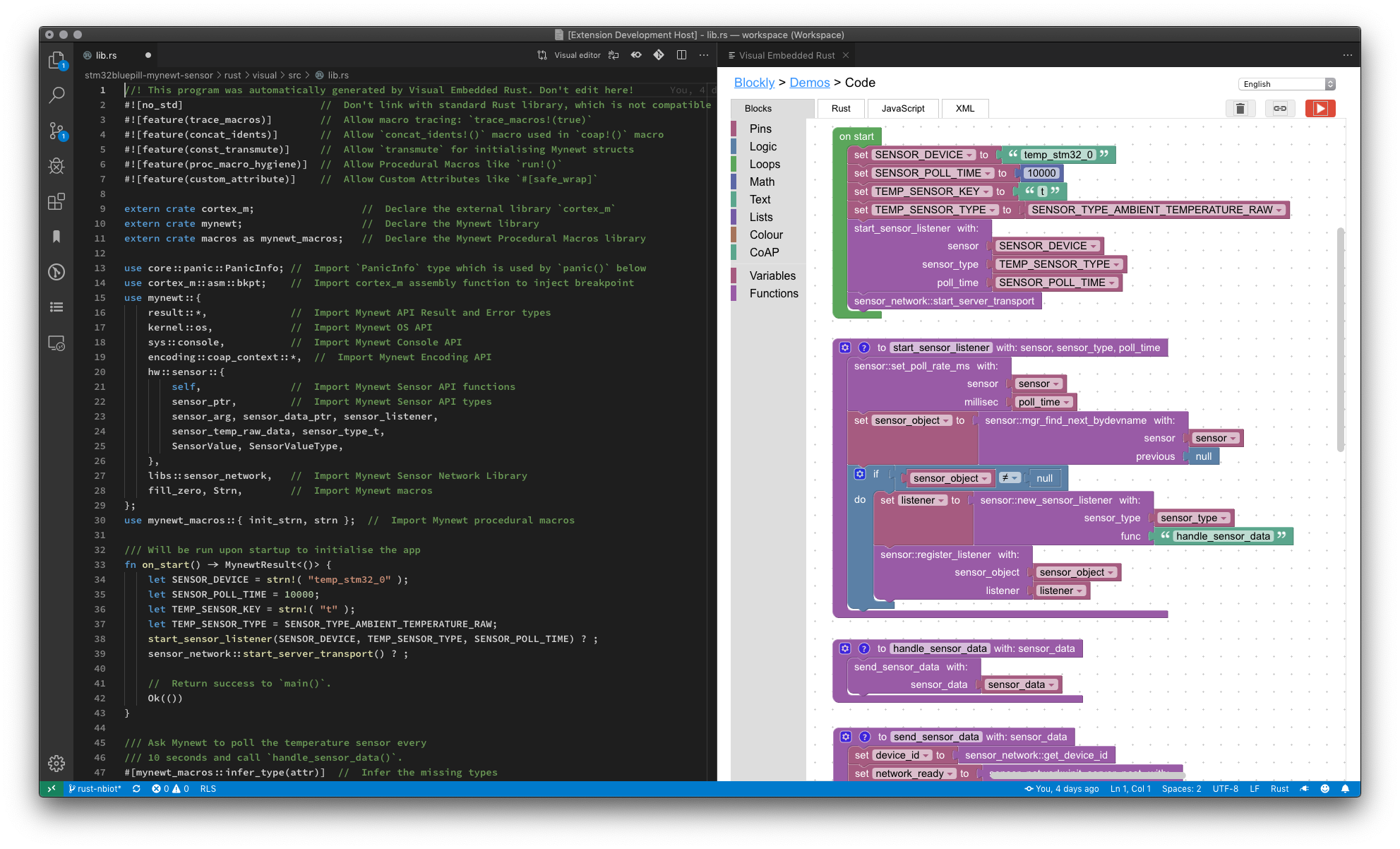 Visual Embedded Rust Programming with Visual Studio Code