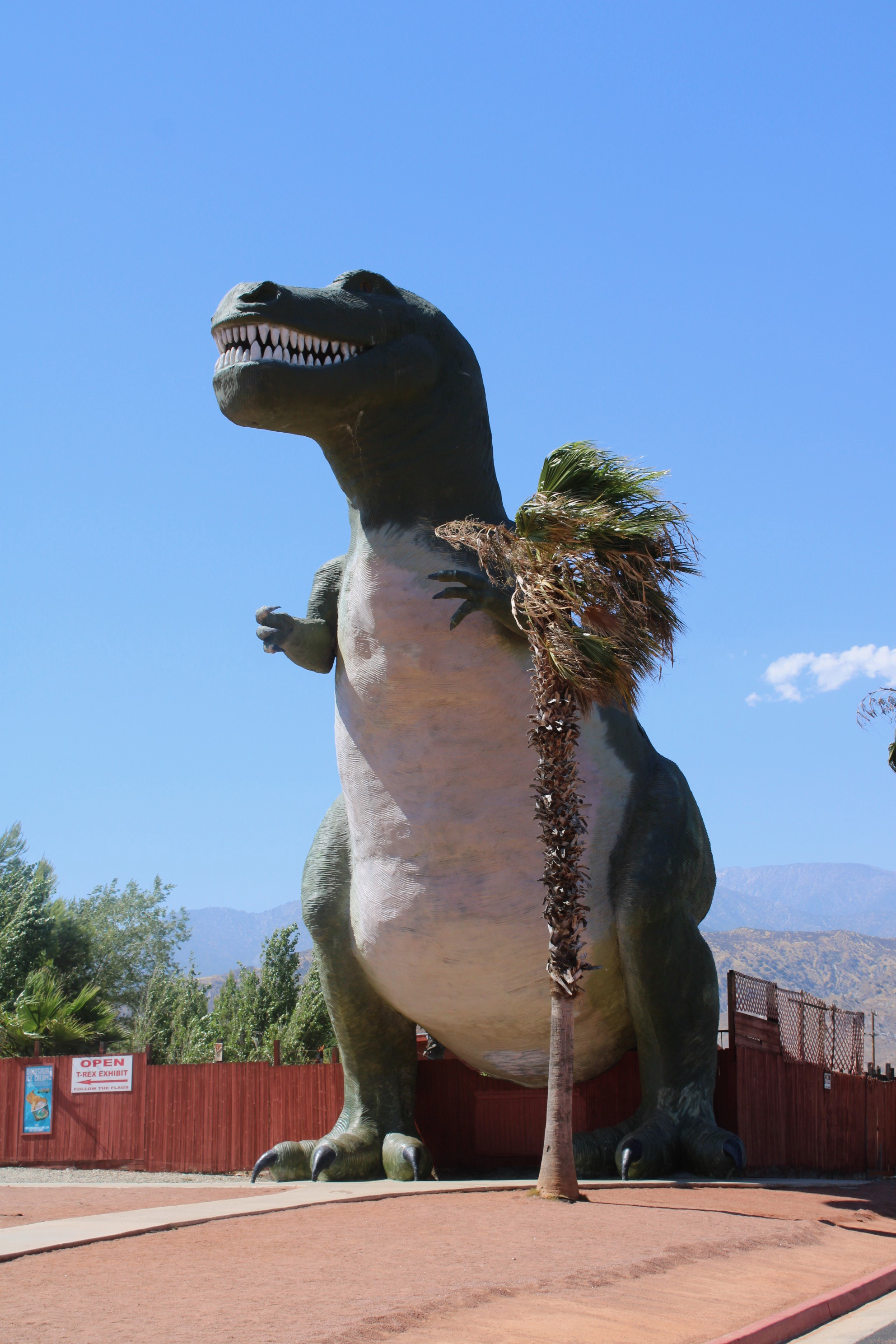Interstate-10 giant Tyrannosaurus rex with palm tree for scale