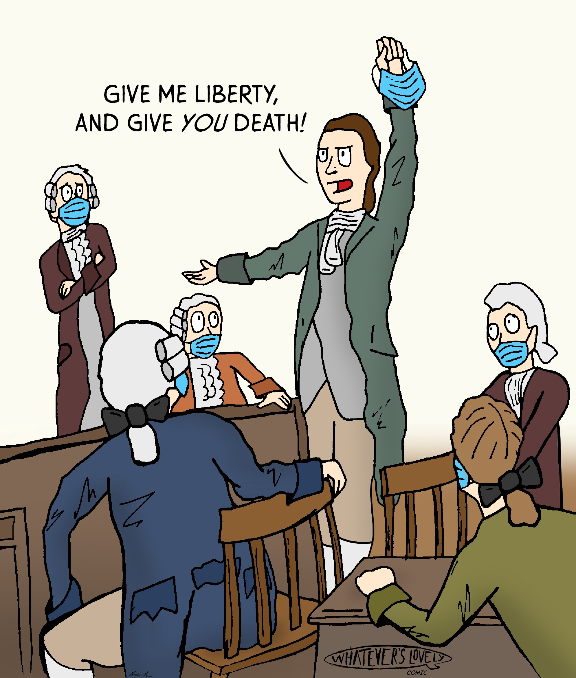 "Patrick Henry says ""Give me liberty and give you death"" cartoon"