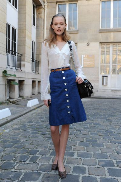 Can a sweater be worn with a denim skirt? Which garments