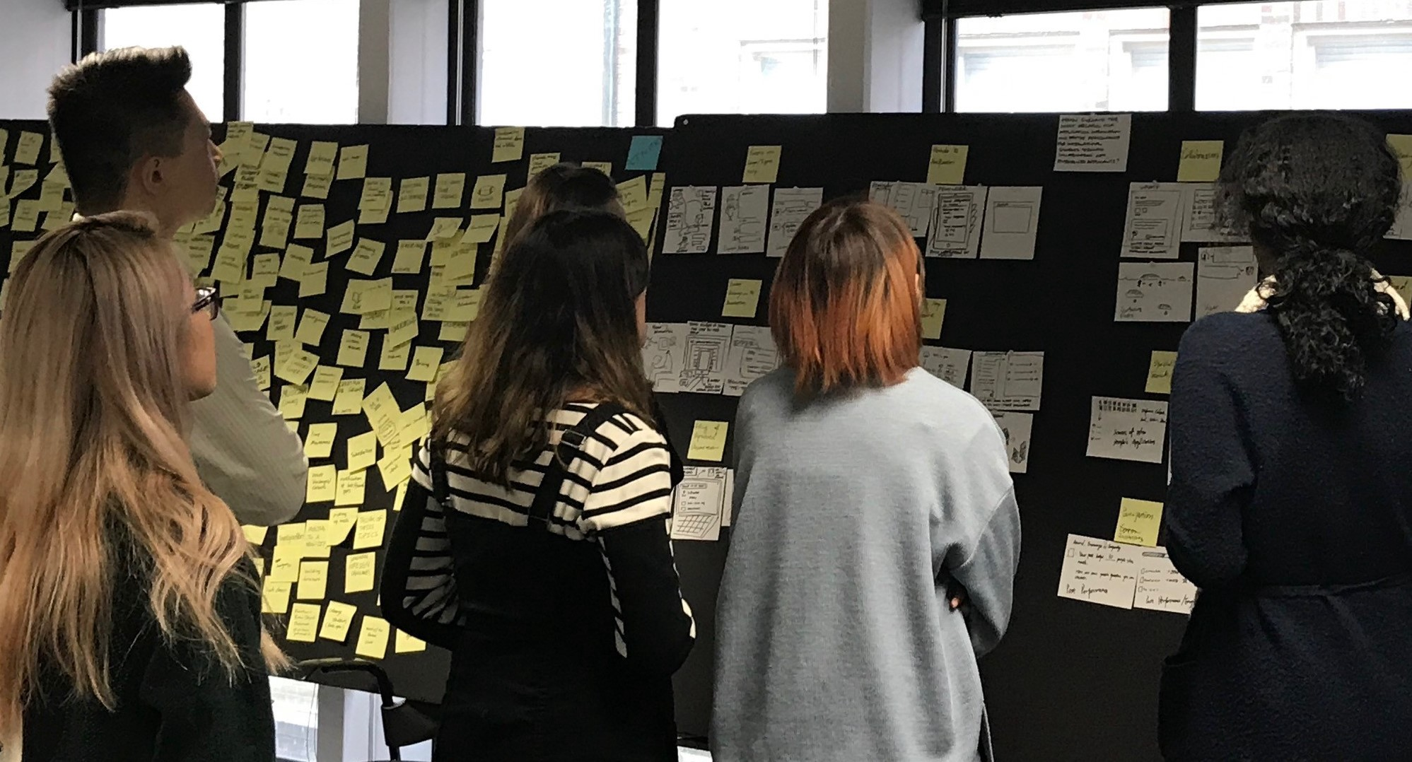 Five people look up groups of post-it notes on a blackboard