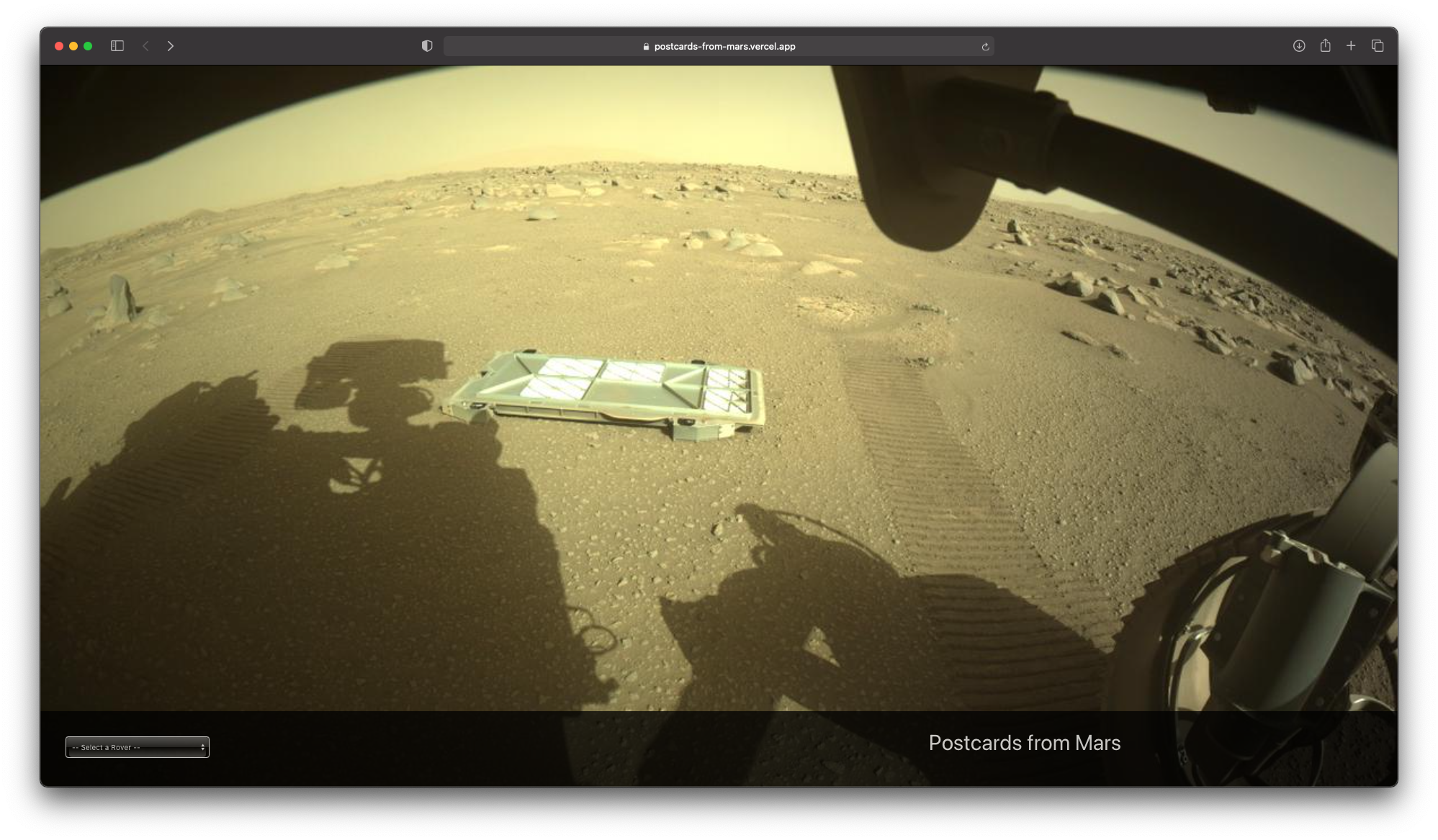 Screenshot of the Postcards from Mars application.