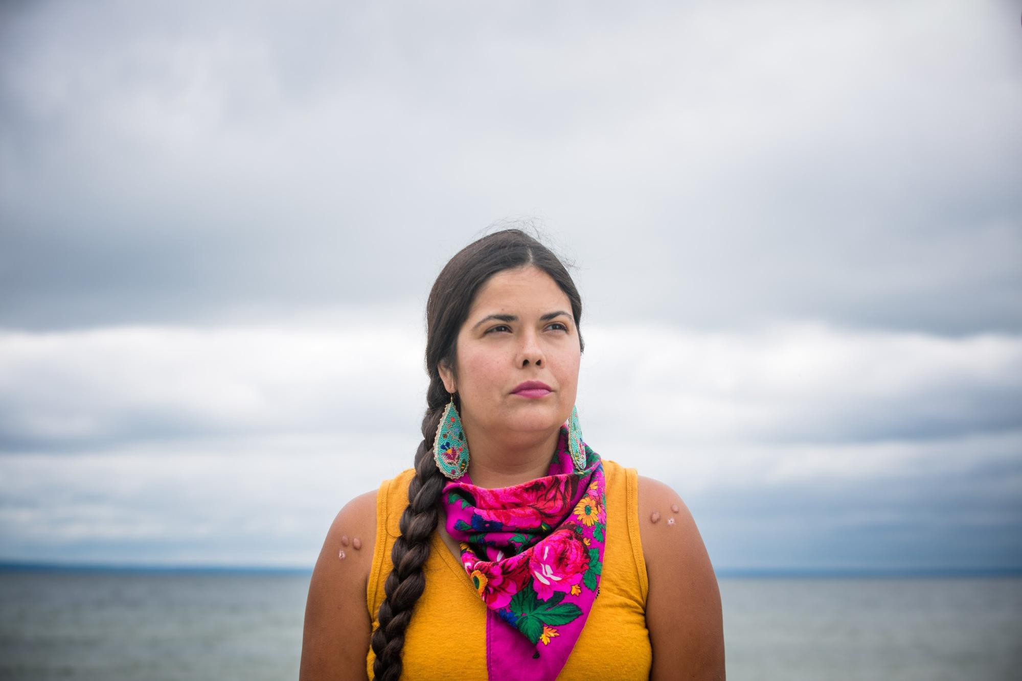 Portrait of Tara Houska (Couchiching First Nation Anishinaabe) tribal attorney & former Campaigns Director at Honor the Earth