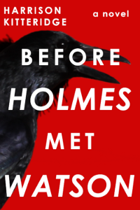 Cover of Before Holmes Met Watson. A raven against a red background with white lettering.