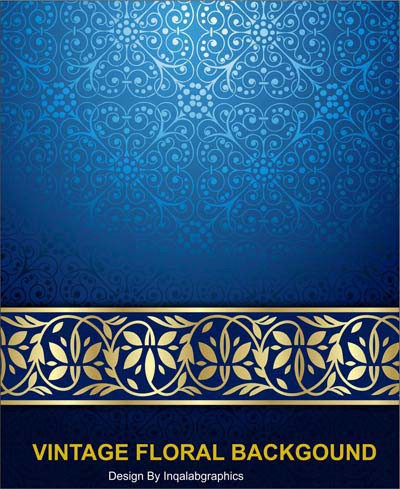 Vintage Blue Abstract Background Floral Vector Free