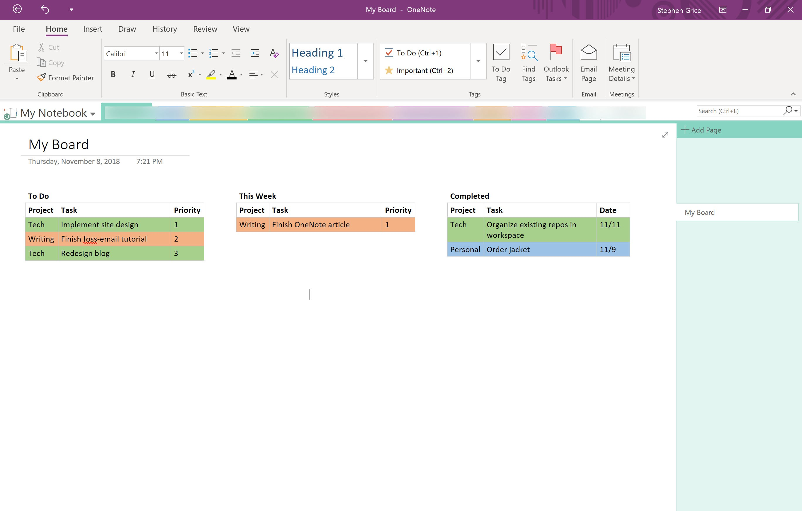 How to Create a Kanban Board in OneNote - Steve Grice - Medium