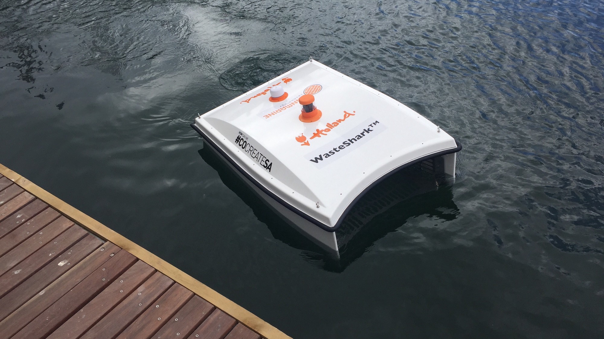 An aqua drone developed by the WasteShark project can collect litter in harbors before it gets carried out into the open sea. Image credit - WasteShark