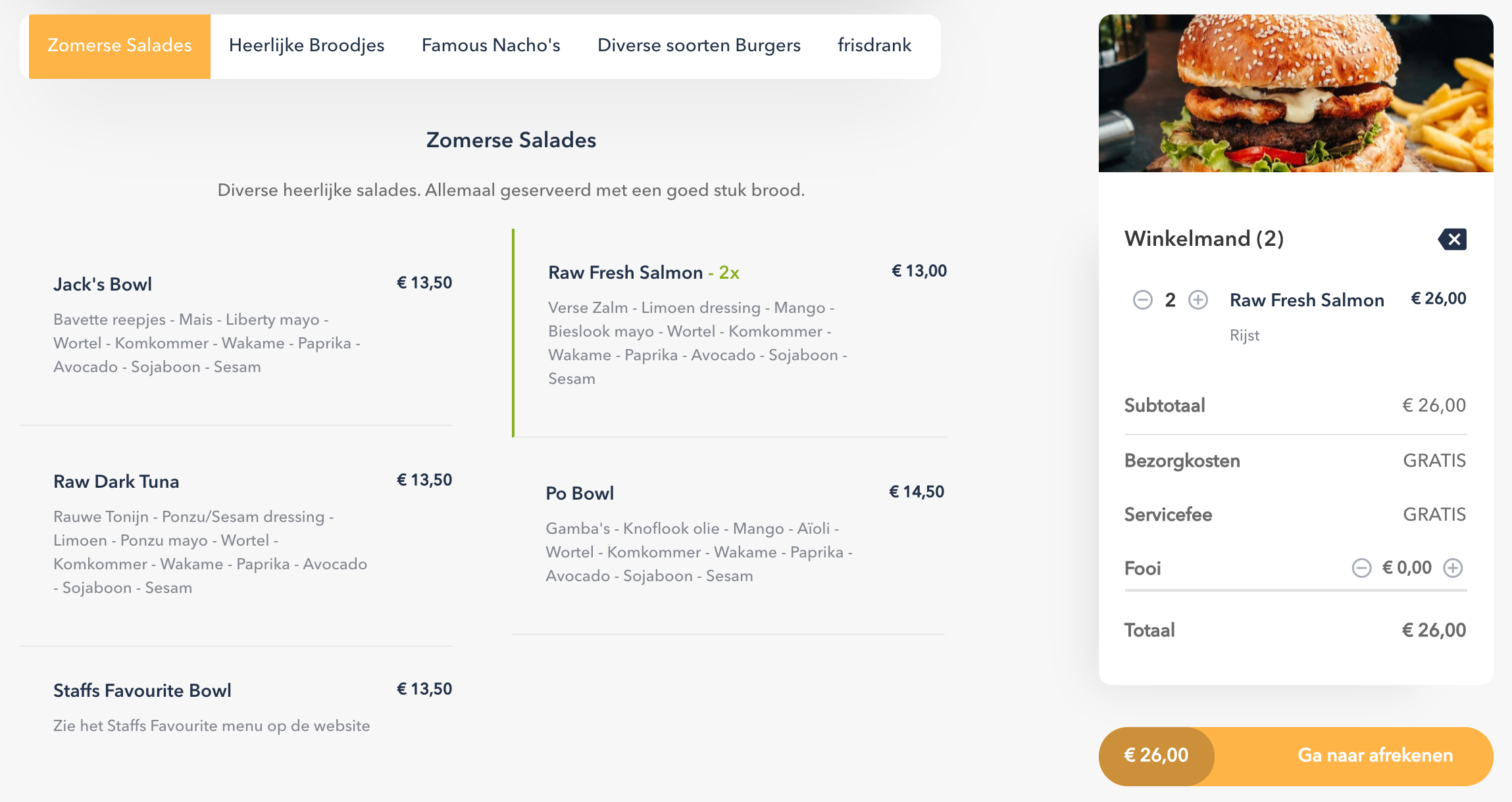 Bistroo marketplace quick menu navigation tool