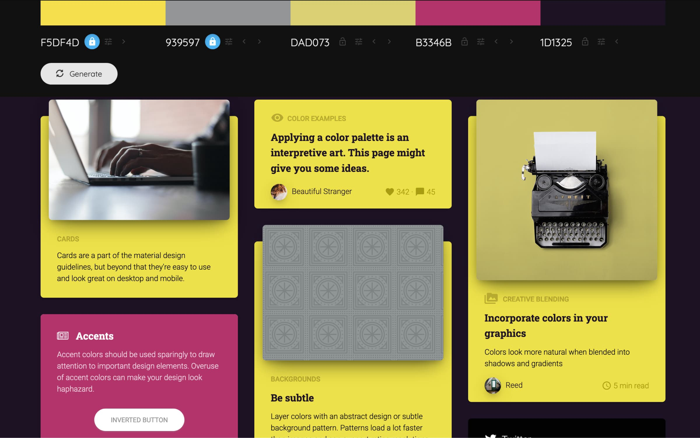 A lot of different website components with the palette colors in use.