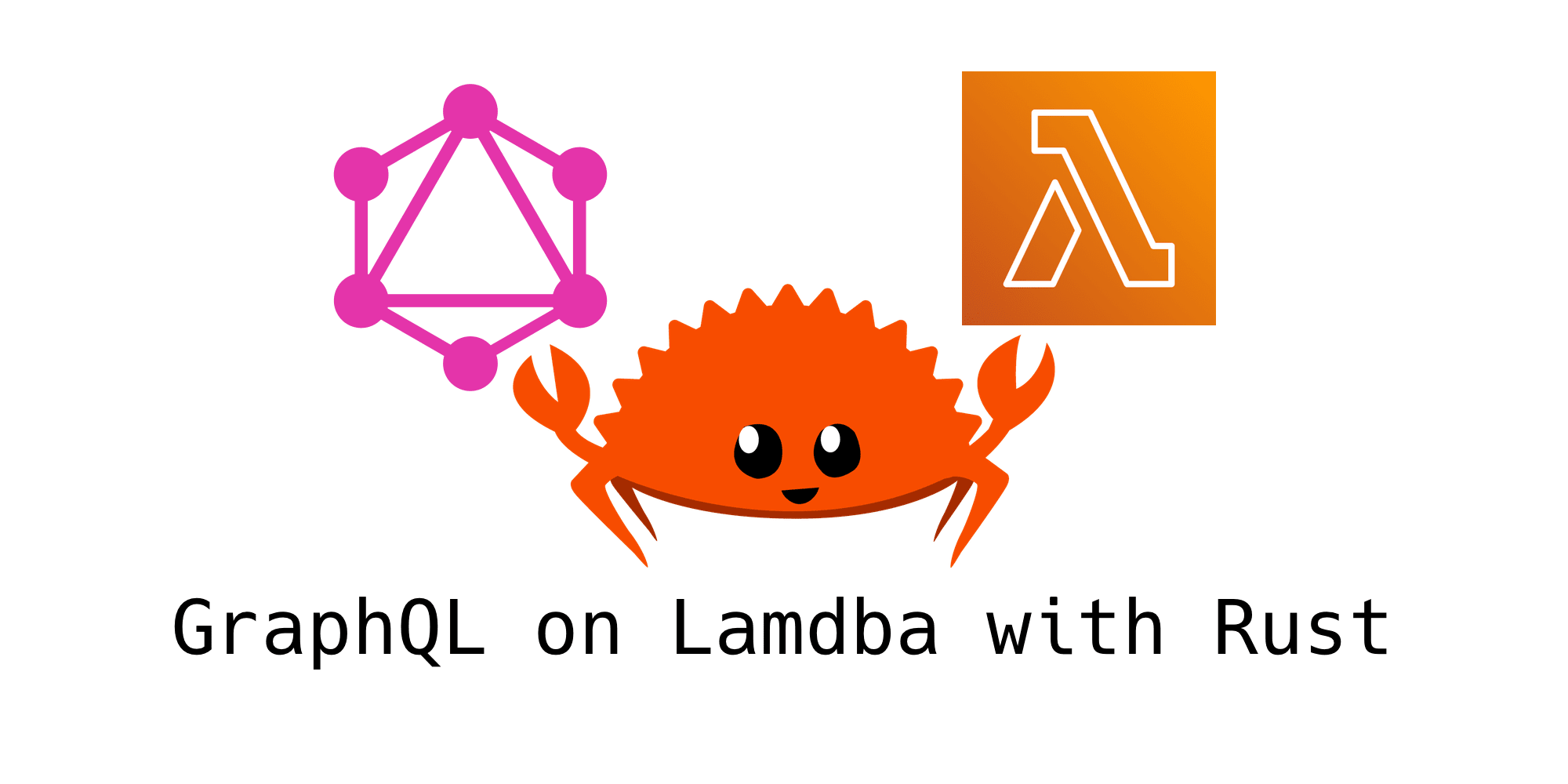 The Rust mascot 'Ferris the Crab' sits beneath the logos for GraphQL and AWS Lambda. Text beneath the images states 'GraphQL on Lambda with Rust'
