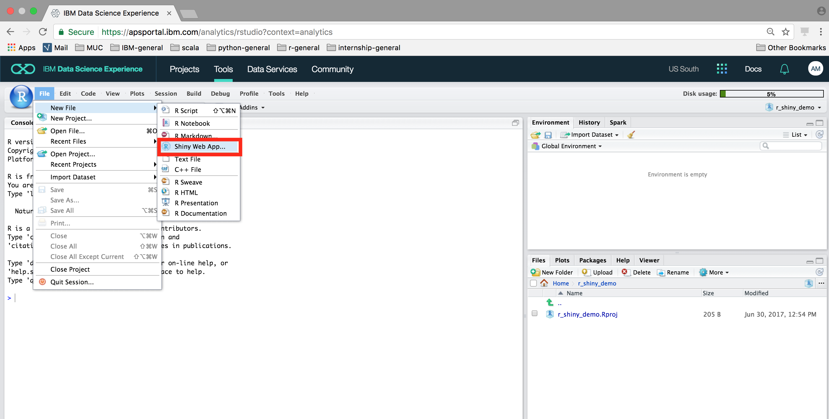 Create R Shiny Web Apps with Data Science Experience and Bluemix
