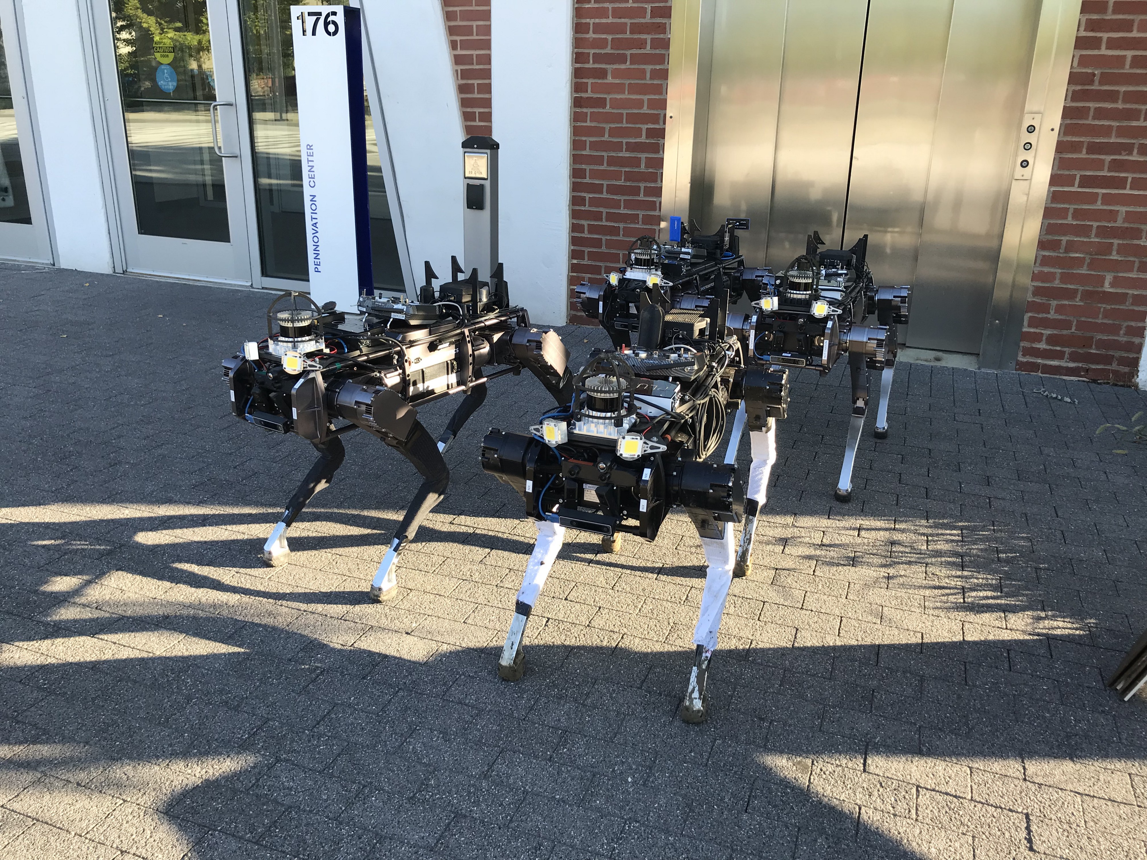 """Four robotic """"dogs"""" pose outside the Pennovation Center."""