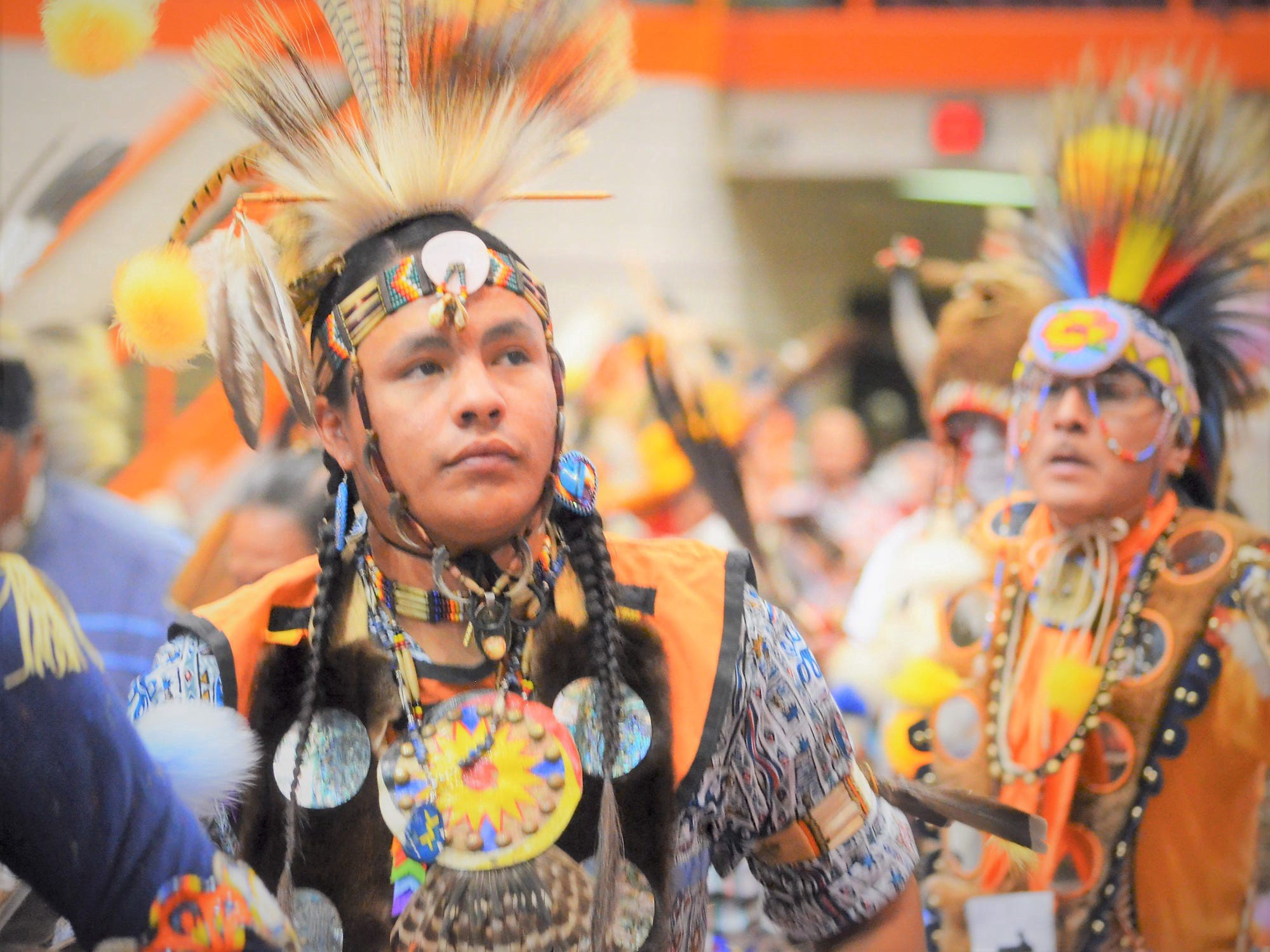 Siksika and Cree dancers perform at the Black Hills Powwow in Rapid City, South Dakota, in 2015.