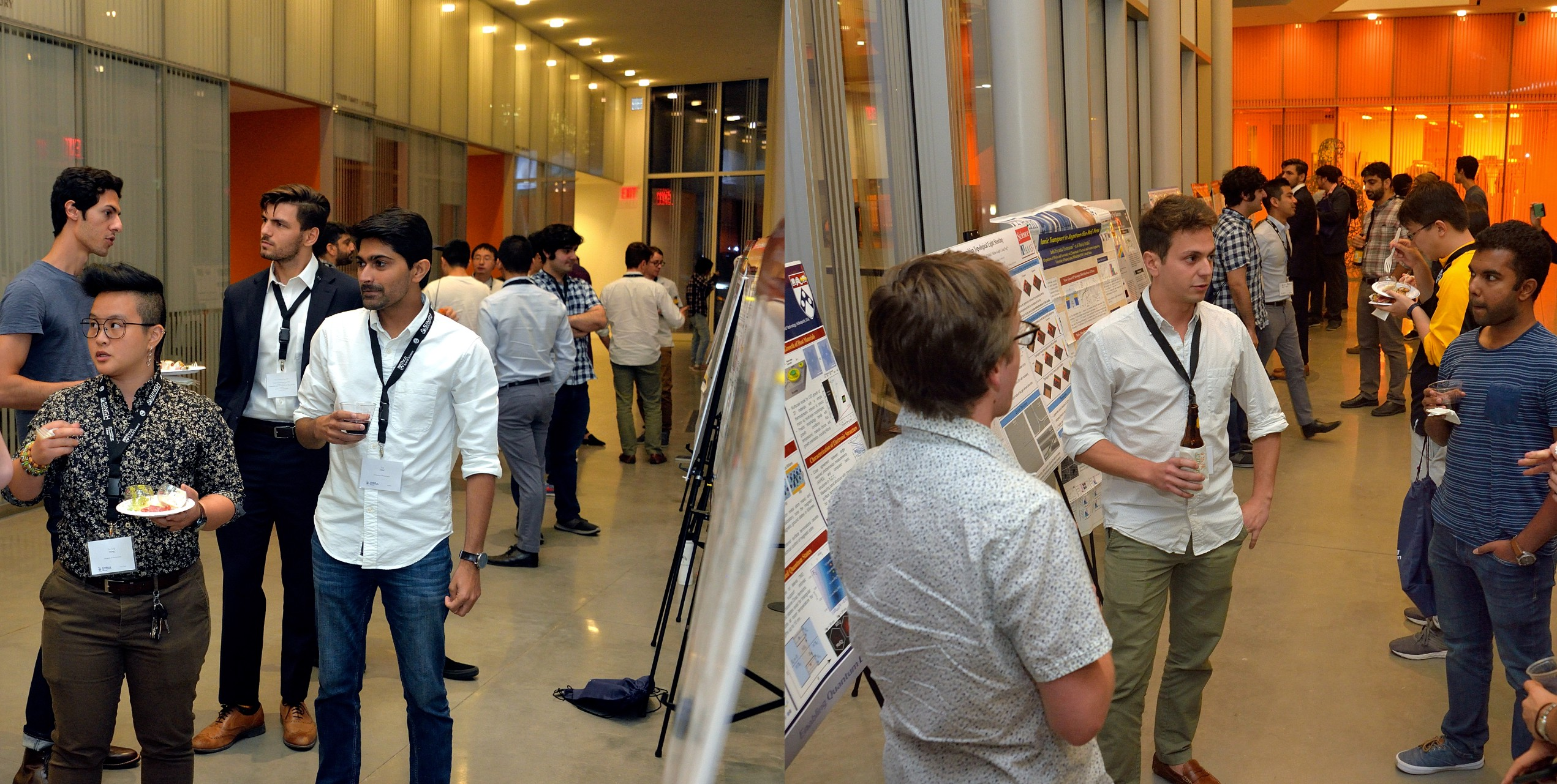 Two photos of students presenting research and mingling at the symposium.