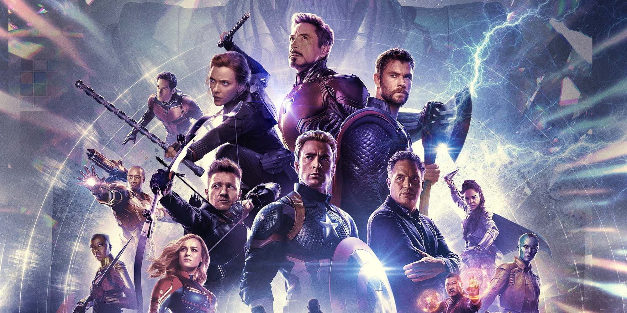 A mostly-male line-up of EndGame characters on a poster