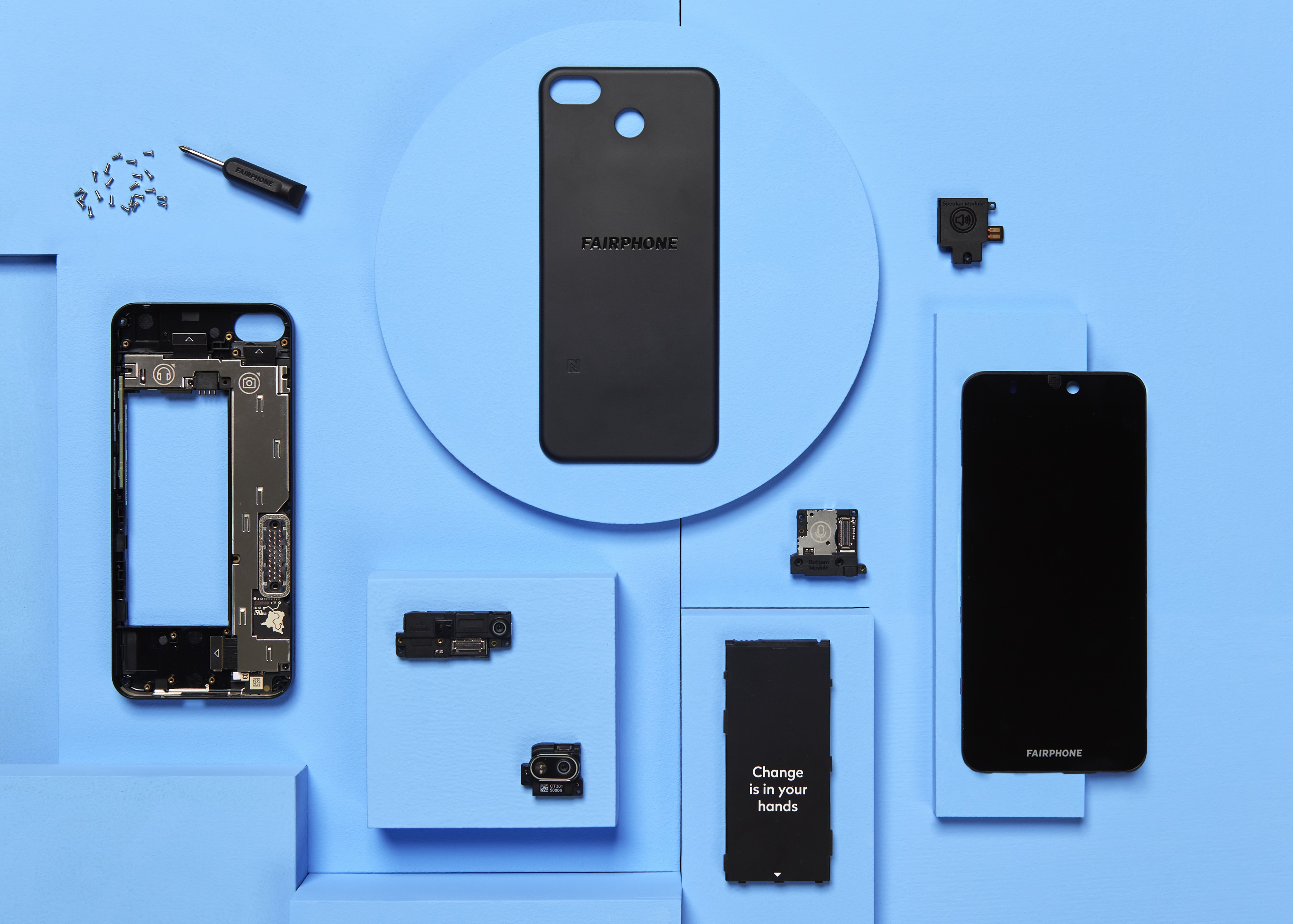 The Fairphone, shown with all its different parts