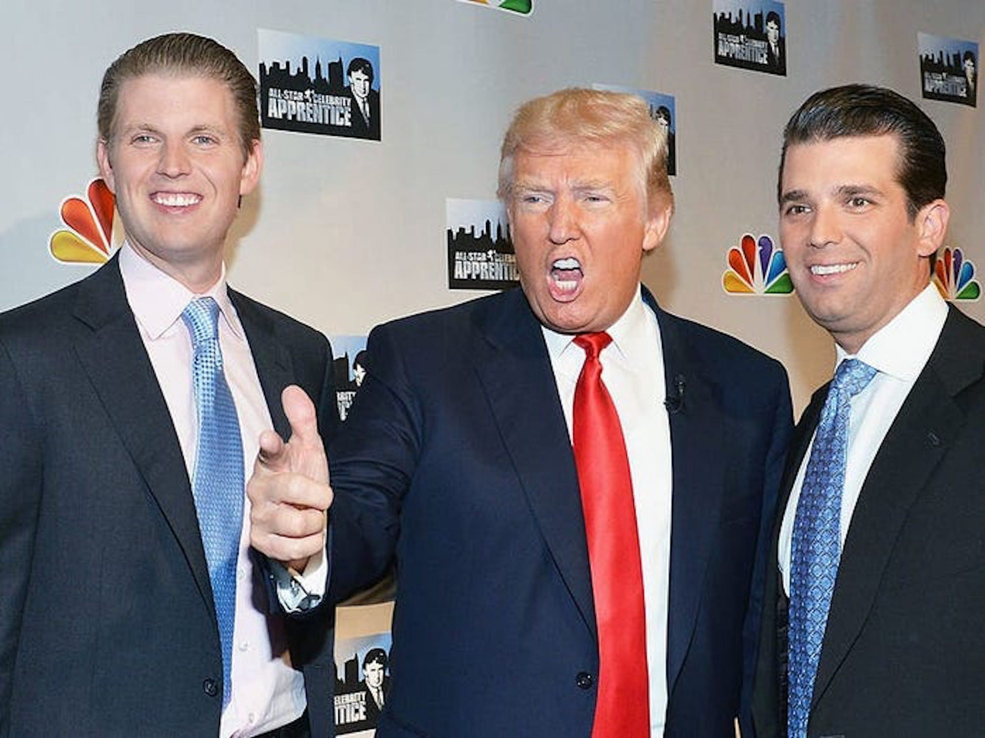 """Soon-to-be former President Donald Trump and his sons Eric and Don Jr. back in the """"Apprentice"""" days."""
