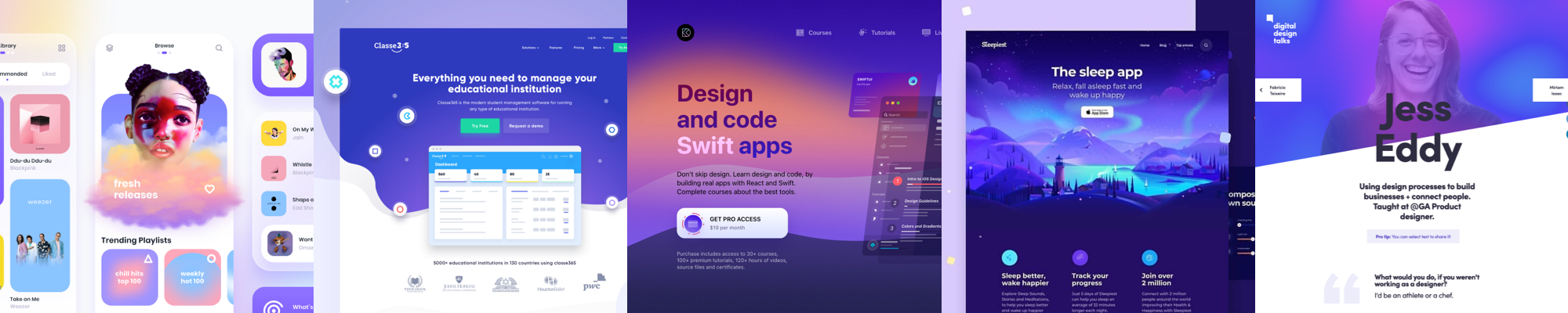 Examples of vivid colors in UI